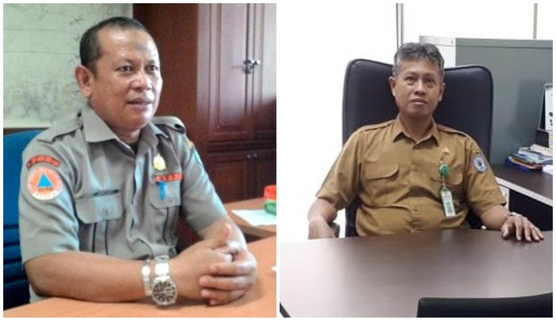 Kepada BPBD Bontang Ahmad Yani (kiri) dan Kabid Sanitasi, Air Minum dan Sumber Daya Air Dinas PUPRK Bontang, Karel.
