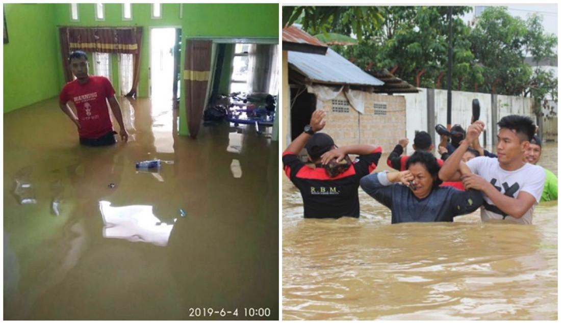 Foto kiri: Kondisi rumah warga di Telihan saat banjir Juni 2019 lalu. (Risnawan PM). Kanan: Evakuasi warga di Kelurahan Kanaan.