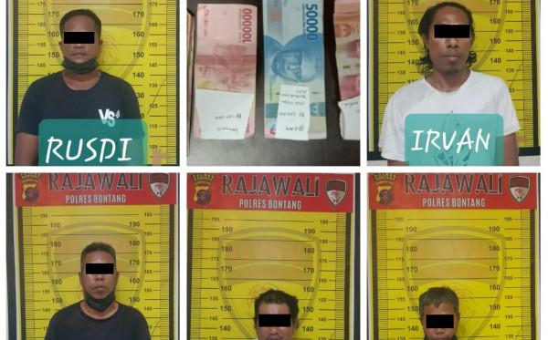 Polres Bontang Bekuk Komplotan Penjudi Kartu di Muara Badak